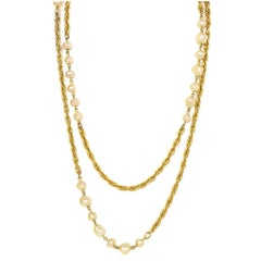 Chanel Vintage Goldtone and Faux Pearl Long Necklace