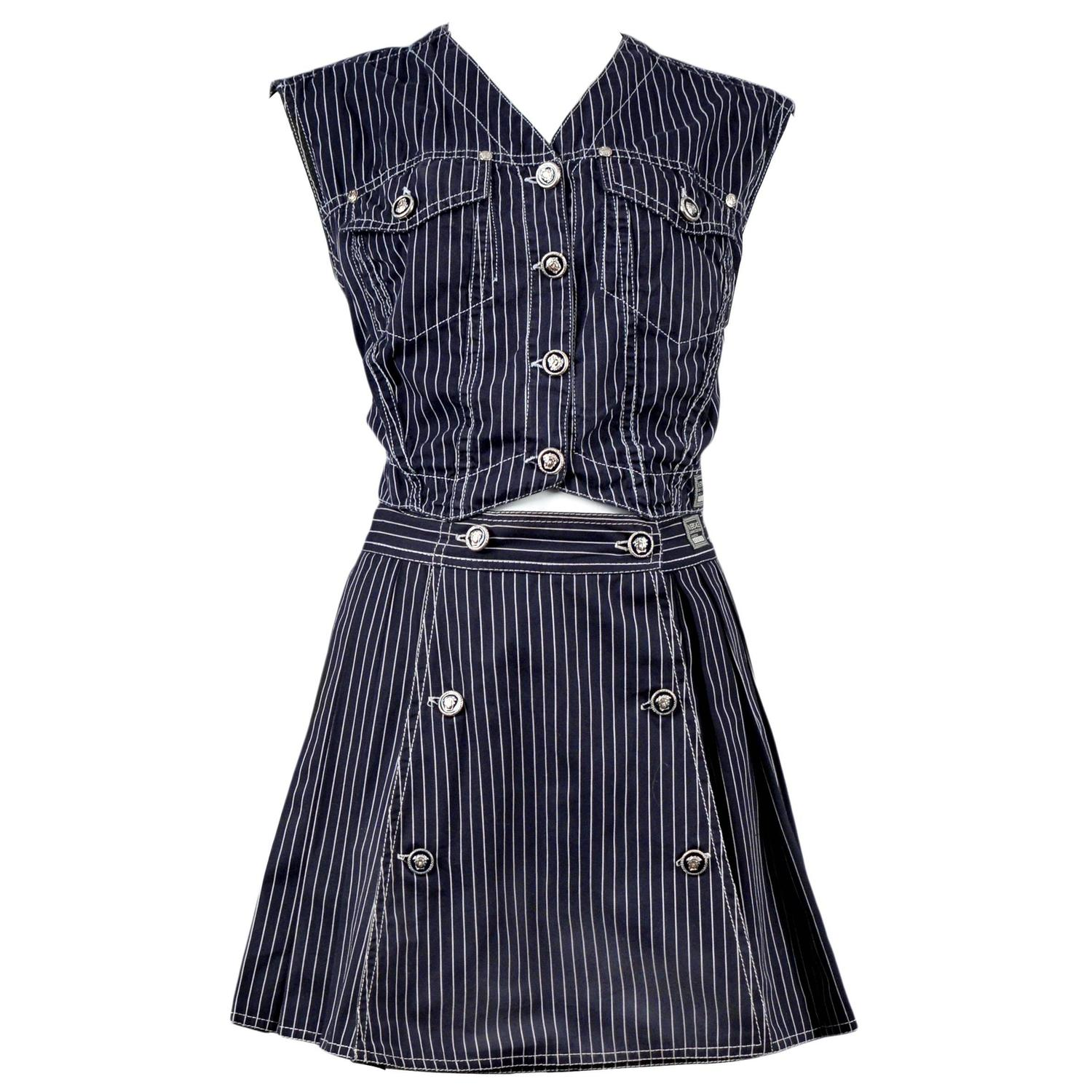 versace denim vest and skirt ensemble for sale at 1stdibs