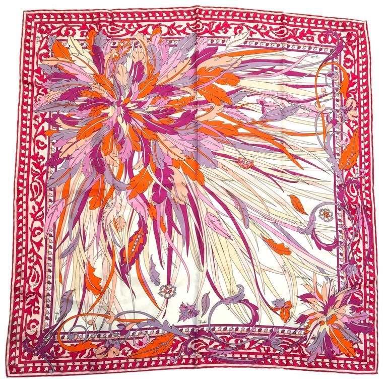 New Emilio Pucci Silk Floral Scarf
