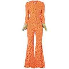 Versace Orange print trouser suit, Spring/Summer 1993
