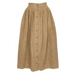 1980s Ralph Lauren Pale Brown Tweed Buttoned Down Skirt