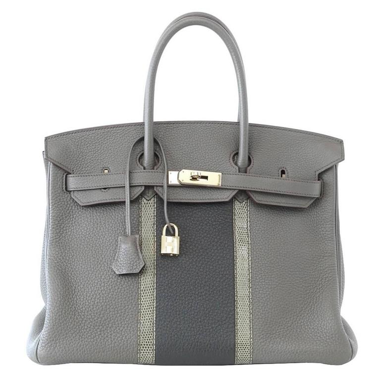 HERMES BIRKIN 35 Bag Limited Edition Club Etain Gray Permabrass rare 1