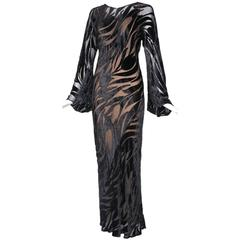 1974 Halston Documented Black Silk Velvet Burnout Evening Gown