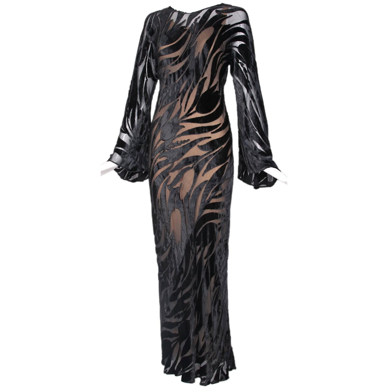 1974 Halston Documented Black Silk Velvet Burnout Evening Gown at ...