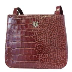 Gianni Versace Croc-Effect Leather Small Shoulder Bag