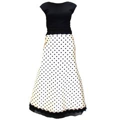 Geoffrey Beene Black and white polka dots dress gown