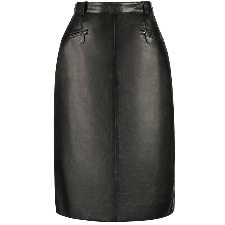HERMES c.1990's Black Genuine Lambskin Leather Zipper Pencil Skirt Size 40