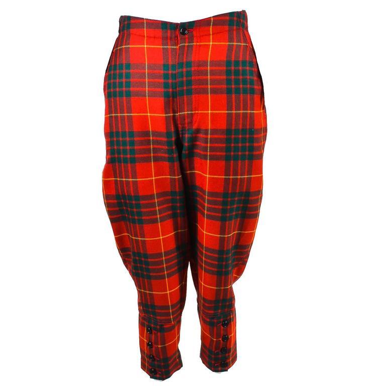 Comme des Garcons Red Green Yellow Wool Plaid Print Capri Pants SZ XS 1