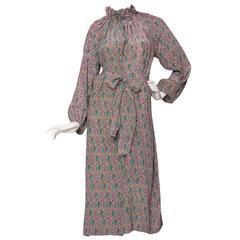 1970s Hanae Mori Paisley Print Silk Dress