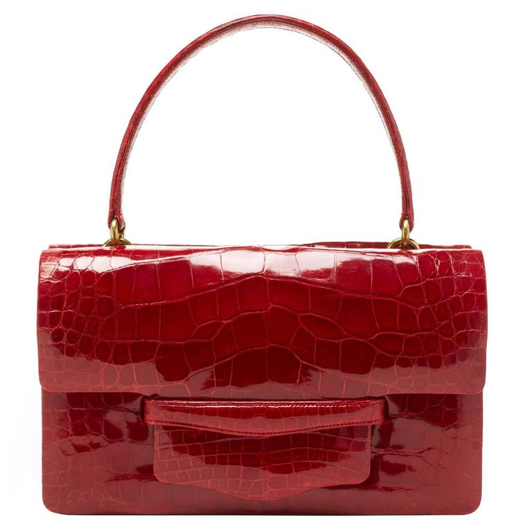 Lorry Newhouse Alligator Ruby Red Double Bag with detachable shoulder strap