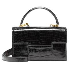 Lorry Newhouse Alligator Black Mini Double Bag with Detachable Shoulder Strap