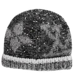 Louis Vuitton NEW Black Gray Monogram Flower Sequin Men Women Unisex Winter Hat