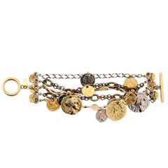 Miriam Haskell Mixed Media Gold Silver Metal Coin Medalion Chain Charm Bracelet
