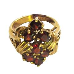 "1950'S ""Real Garnet"" Sterling Ring with Gold Overlay"