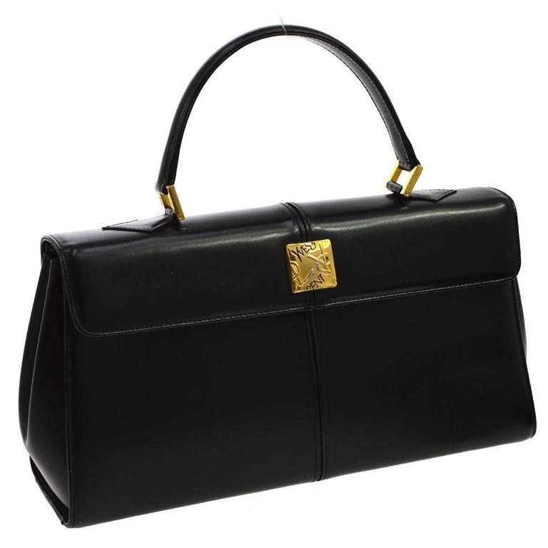 Dior Black Leather Kelly Style Top Handle Satchel Evening Flap Bag MvIboJ7