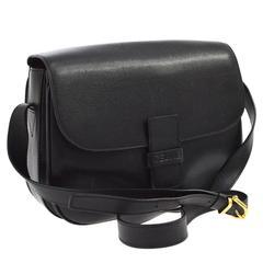 Celine Black Leather Box Flap Bag