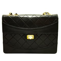 CHANEL Chain Shoulder Bag Leather Black Flap Quilted Lambskin