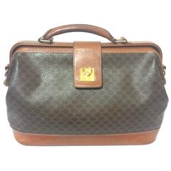 Vintage Celine brown macadam blaison doctor bag with brown leather trimmings.