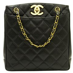 CHANEL Caviar Chain Handbag Bag Black Quilted Gold CC Leather Tote