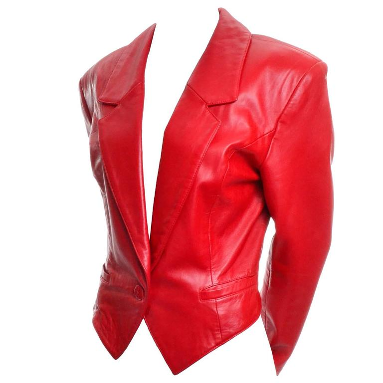 Michael Hoban North Beach Vintage Tuxedo Style Red Leather Jacket  1