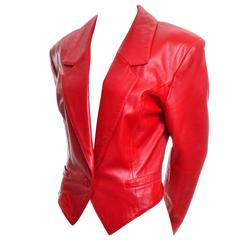 1980s Michael Hoban North Beach Red Leather Jacket Vintage Cropped Tuxedo Style