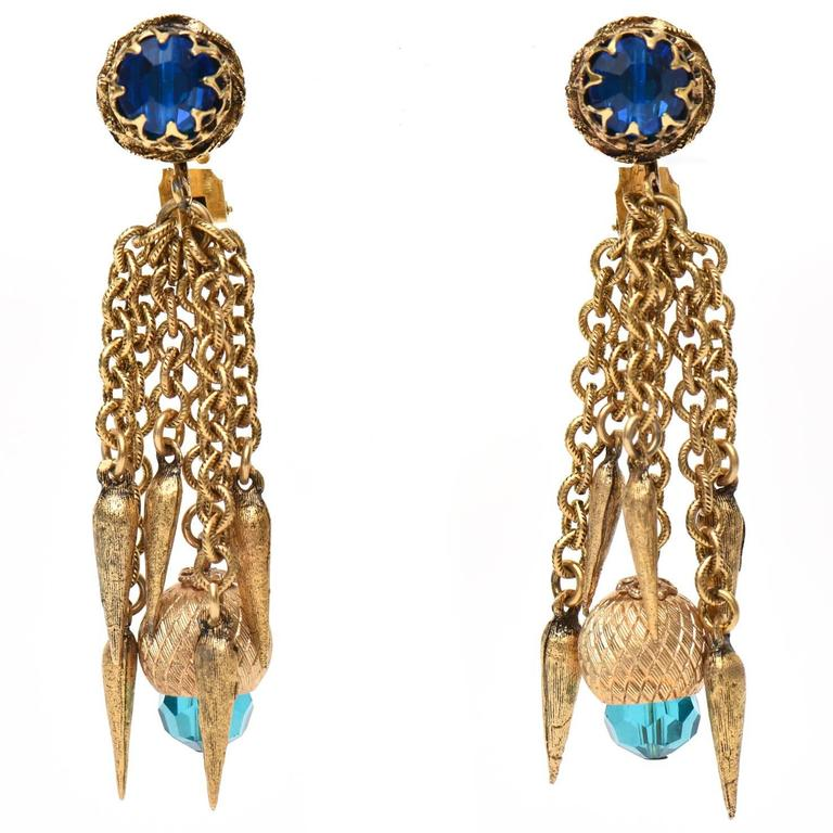 Pair of 1960's Gold Plated & Crystal Chain Dangle Clip On Earrings /SAT. SALE For Sale