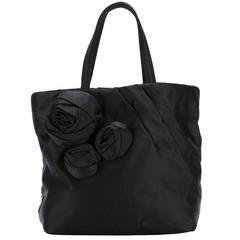 Black Prada Satin Evening Tote Bag