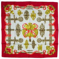 "Hermes NWT Red & Gold Ferronnerie 36"" Silk Scarf"