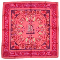 """Hermes NEW Pink & Red Early America 36"""" Silk Scarf"""