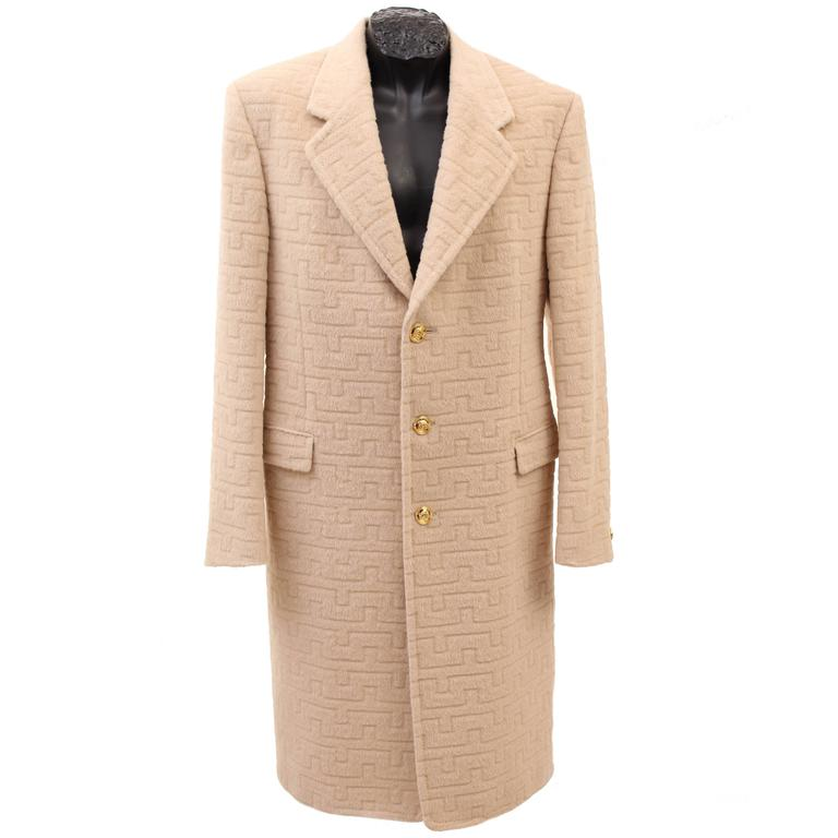 Versace Beige Textured Wool Coat for Men