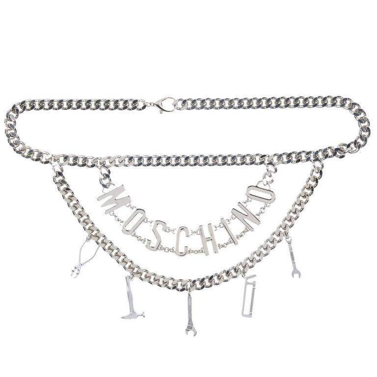 Moschino NEW Silver Double 'MOSCHINO' Logo Letter Charm Chain Waist Belt For Sale