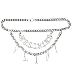 Moschino NEW Silver Double 'MOSCHINO' Logo Letter Charm Chain Waist Belt