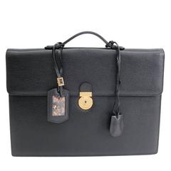 Salvatore Ferragamo Black Leather Men's Brief LapTop Business Case Bag