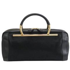 Salvatore Ferragamo Black Leather Gold Evening Top Handle Satchel Bag