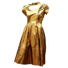 Famous Prada Gold Metallic Leather Fairytale Dress