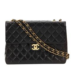 Chanel Black Quilted Lambskin Vintage Jumbo XL Flap Bag 1990s