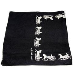 Céline black & white horse-drawn carriage scarf 80s