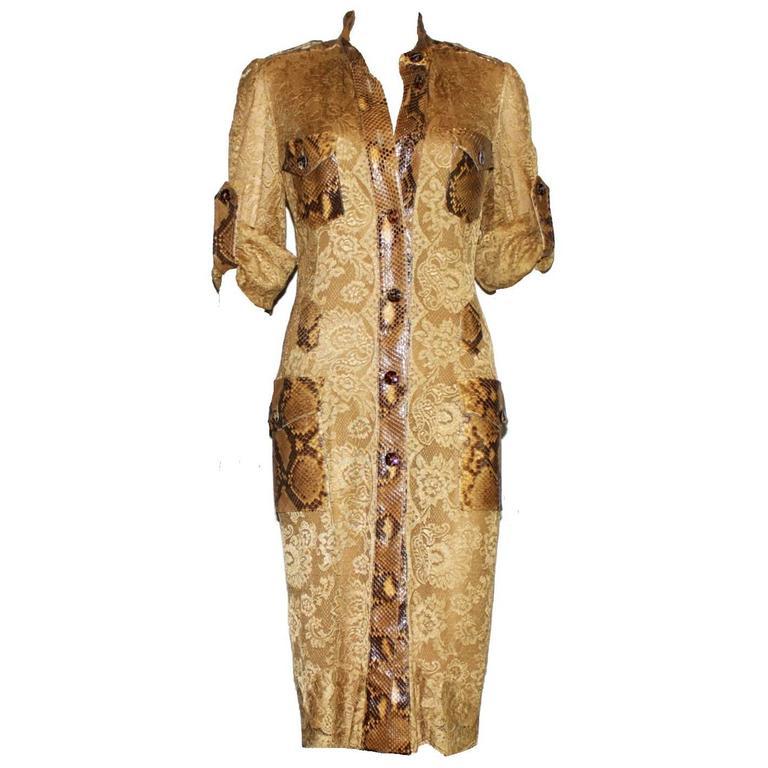 Unique Dolce & Gabbana Python Snakeskin Lace Tortoise Dress Gown 1
