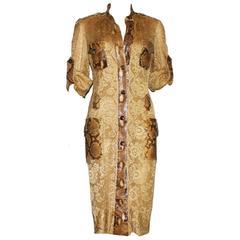 Unique Dolce & Gabbana Python Snakeskin Lace Tortoise Dress Gown