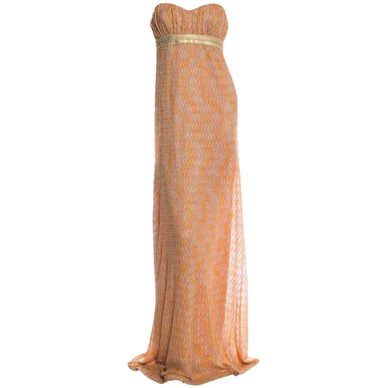 Missoni Gold Metallic Corset Lurex Crochet Knit Gown