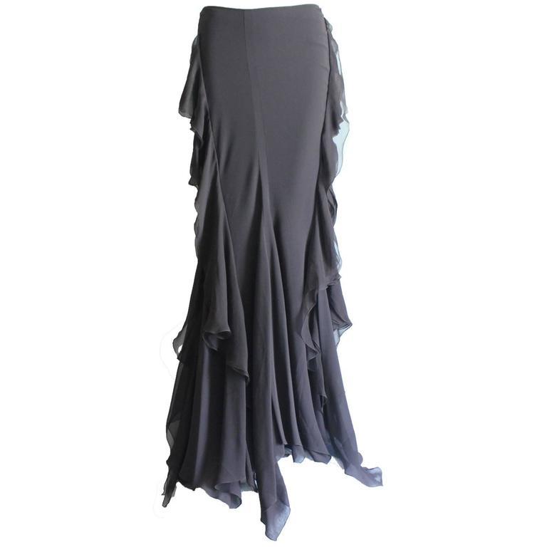 Dior Finest Full Length Ruffled Chiffon Silk Maxi Skirt  1