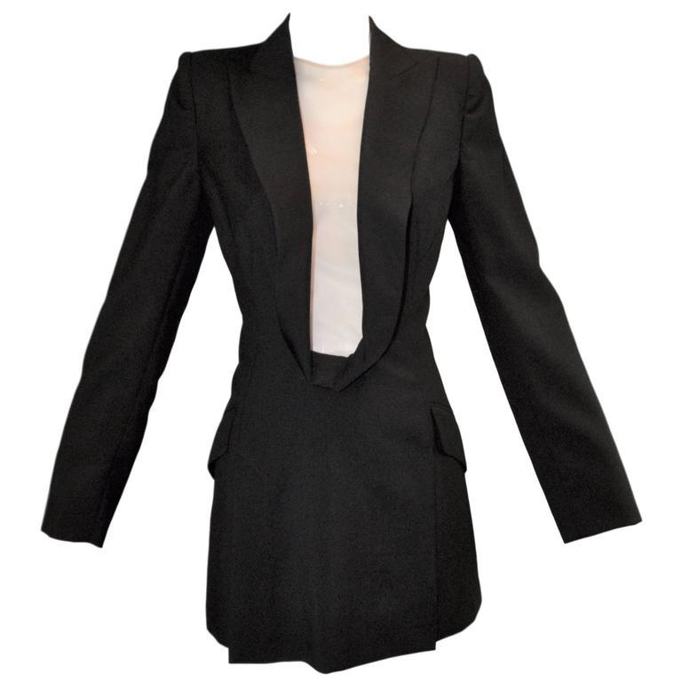 S/S 1998 Alexander McQueen Savage Beauty Met Museum Mesh Tuxedo Mini Dress 42