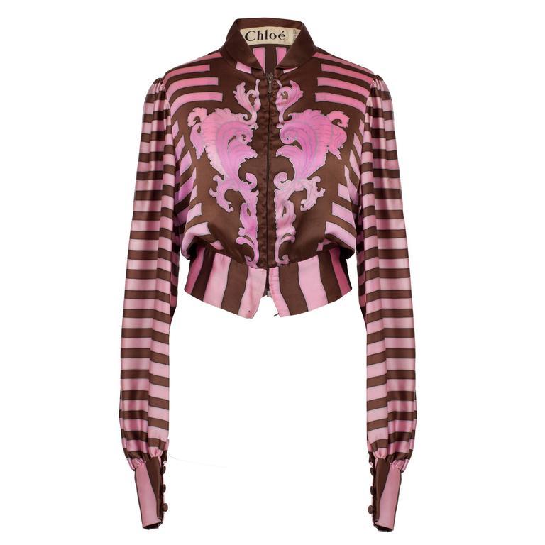Chloe Pink Brown Silk Blouson Karl Lagerfeld 1970s For Sale