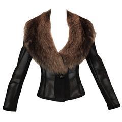 F/W 1995 Dolce & Gabbana Sheer Mesh Fox Fur Collar Jacket