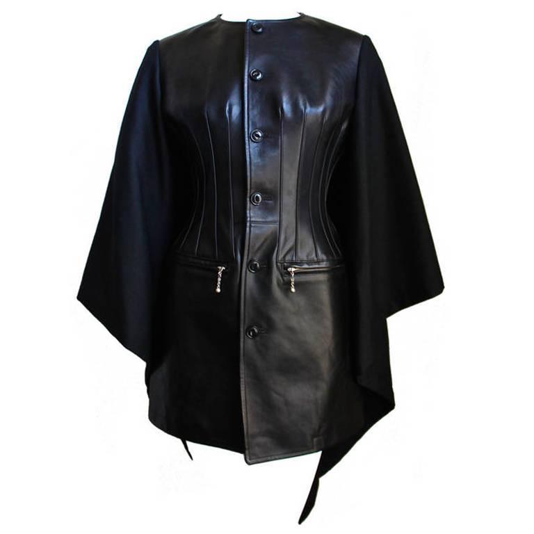 2011 runway JUNYA WATANABE COMME DES GARCONS wool & leather cape coat
