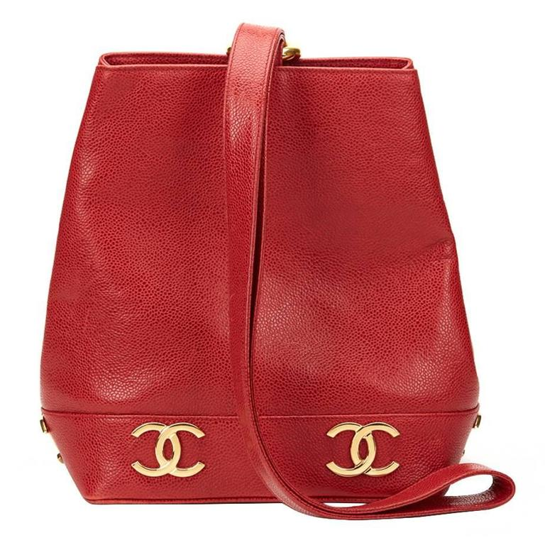 a398e950e43d 1990s Chanel Red Caviar Leather Vintage Bucket Bag at 1stdibs