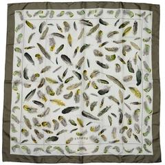 Hermes Plumes Feather Print 90cm Silk Scarf