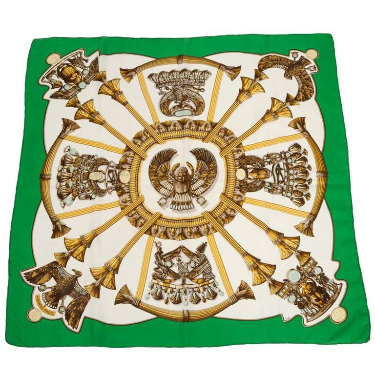 1970 Hermes Scarabees & Pectoraux Silk Twill Carre Scarf  For Sale
