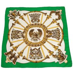 1970 Hermes Scarabees & Pectoraux Silk Twill Carre Scarf