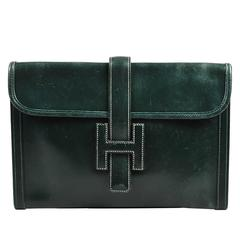 "Vintage Hermes Dark Green Leather ""Jige PM"" Clutch"